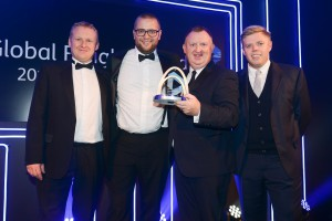 Gareth Walter (second right), Commercial Manager of Kerry Logistics (UK) and Dave Bush (second left), Commercial Manager London of Kerry Logistics (UK) receive the Global Freight Solutions Provider of the Year award at the Lancaster London Hotel.