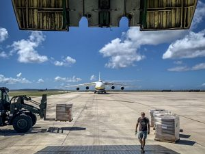 The Ukraine-based carrier worked with Air Partner Plc to transport the relief goods and humanitarian aid, using its AN-124-100 to complete the missions to the Western Pacific island in less than 30 days.